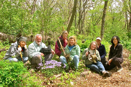A small group of volunteers holding planting tools sits next to a patch of spring wildflowers.