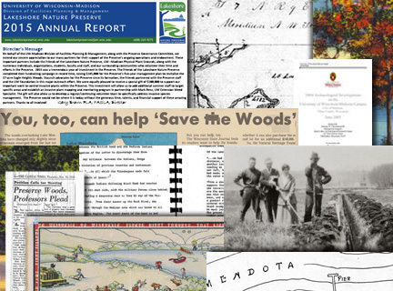 A collage of Lakeshore Nature Preserve related documents, photos, and maps.