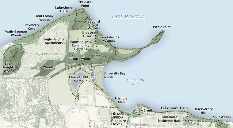 map of the Preserve with clickable hotspots for more information