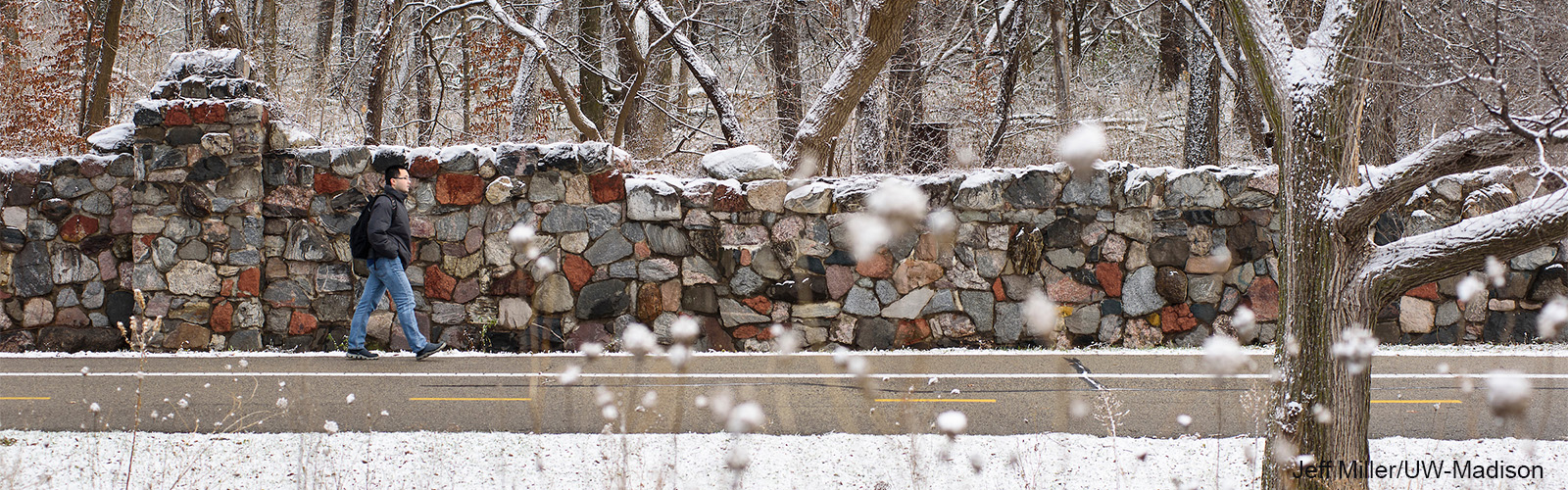 A dusting of snow covers the trees as a man walks by a stone wall entrance to Picnic Point.
