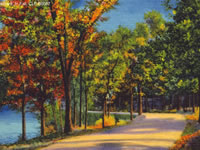 A colored postcard highlights the Lakeshore Path in fall colors.
