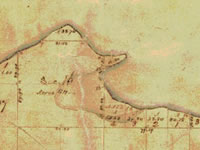 Hand-drawn survey map showing outline of Lake Mendota shoreline from 1834 land survey.
